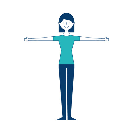 young woman people character gesturing with arms vector illustration green and blue design