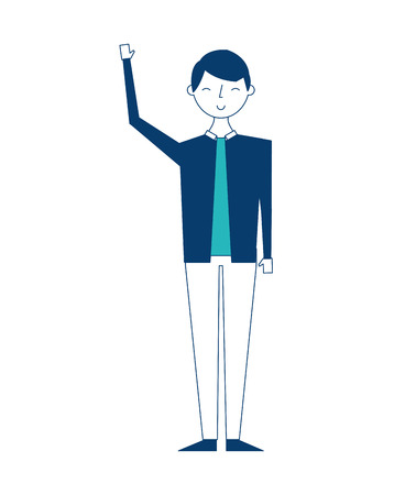 young people male man in casual clothes vector illustration green and blue design
