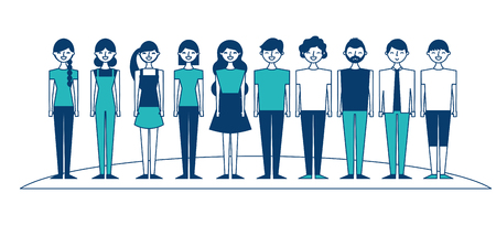 people group man and woman together vector illustration green and blue design Ilustrace