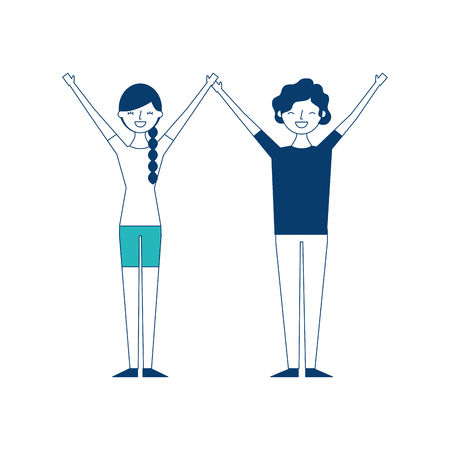 couple of young raised arms people characters vector illustration green and blue design Иллюстрация