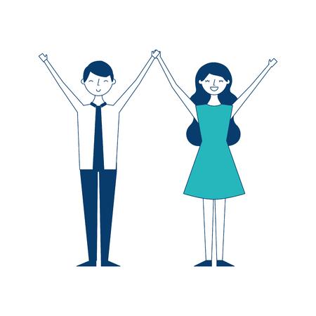 Paar junge erhobene Arme Menschen Zeichen Vektor-Illustration grün und blau Design