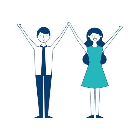 couple of young raised arms people characters vector illustration green and blue design Illustration