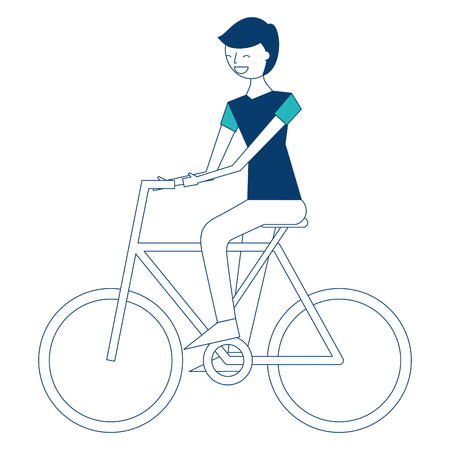 young man riding bike activity vector illustration green and blue design