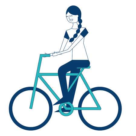 beautiful young happy woman riding in bicycle vector illustration green and blue design