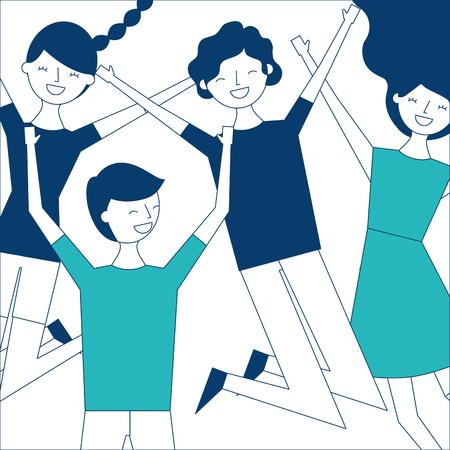 mensen groep man en vrouw springen grappig vector illustratie groen en blauw ontwerp