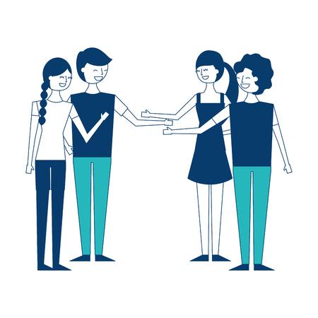 people couples friends together handshake vector illustration green and blue design