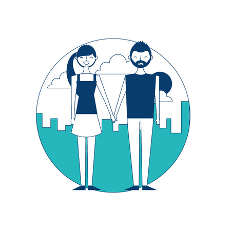 Happy copule holding hands with urban background vector illustration green and blue design Illustration