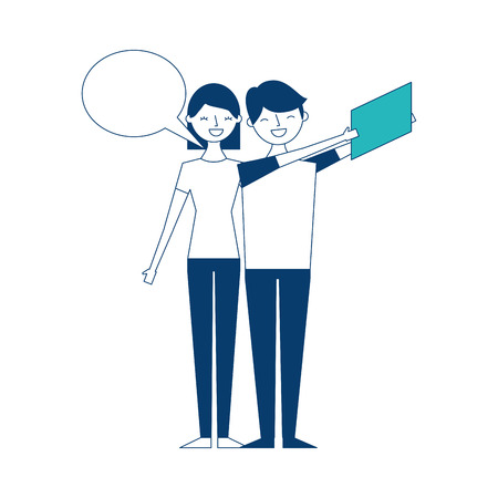 couple of young taking selfie with mobile vector illustration green and blue design