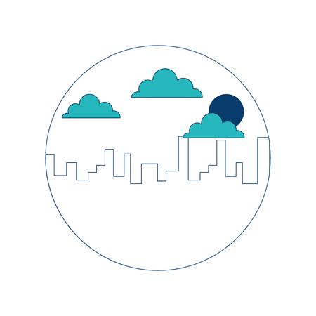 landscape urban city building morning clouds sun vector illustration green and blue design