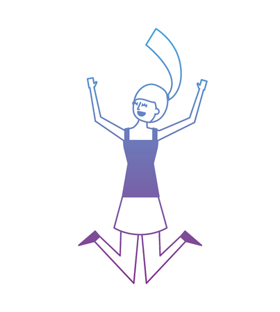 people female jumping enjoy character vector illustration degrade color design