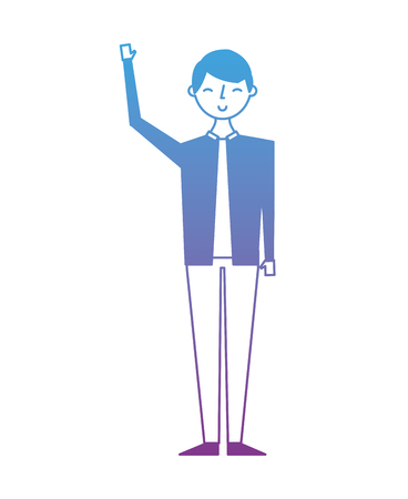 Young people male man in casual clothes vector illustration degrade color design