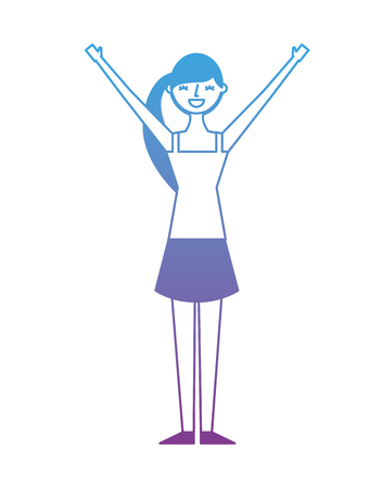 Young woman people character gesturing with arms vector illustration degrade color design