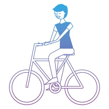 Young man riding bike activity vector illustration degrade color design Illustration