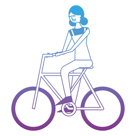 Beautiful young happy woman riding in bicycle vector illustration degrade color design
