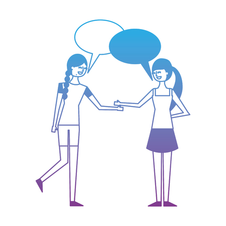 People character friends women speech bubble talking vector illustration degrade color design Illustration