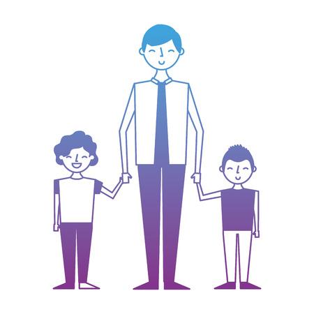 Young man holding hands of two kids vector illustration degrade color design Illustration