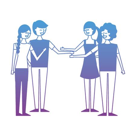 People couples friends together handshake vector illustration degrade color design