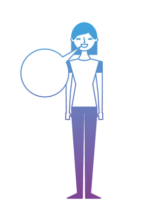 People female character with speech bubble vector illustration degrade color design