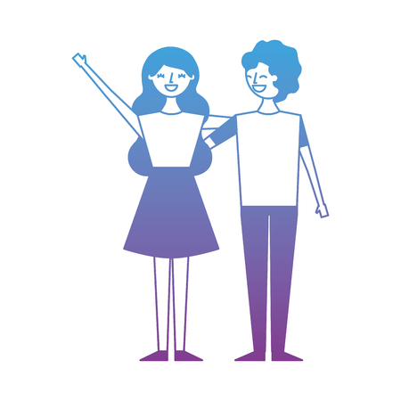 Couple of young people characters vector illustration degrade color design Illustration