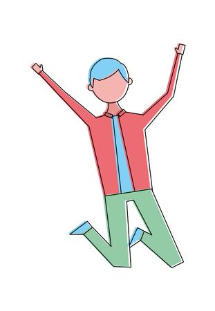 Jumping young people male man vector illustration