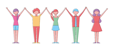 People group man and woman holding hands up vector illustration
