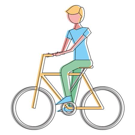 Young man riding bike activity vector illustration