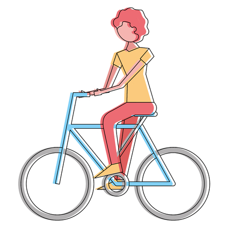 Young man riding bike activity vector illustration