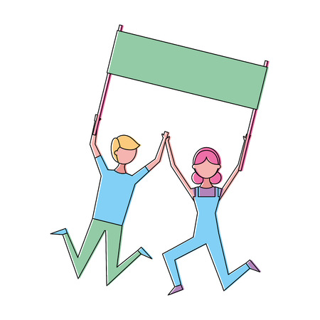 Young couple people jump holding placard empty vector illustration