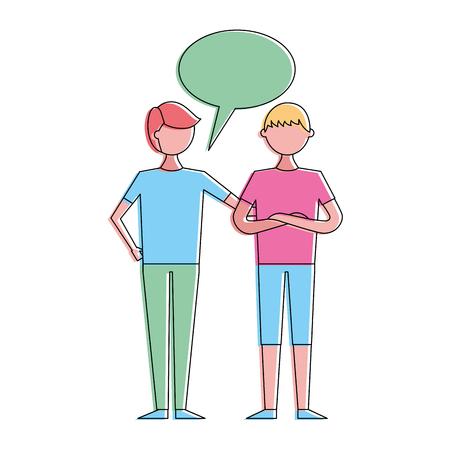 People male character men friends speech bubble vector illustration