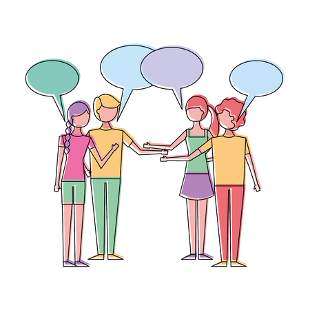 People couples speech bubbles dialog vector illustration