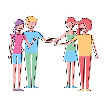 People couples friends together handshake vector illustration