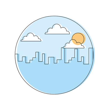 朝の雲の太陽ベクトルイラストを造る風景都市都市