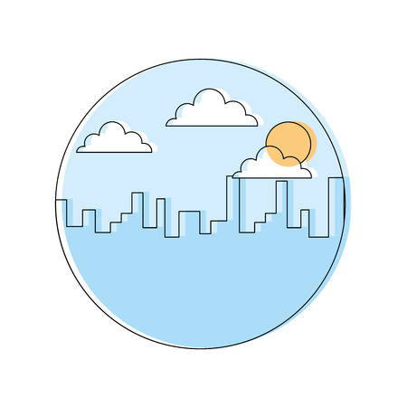 Landscape urban city building morning clouds sun vector illustration