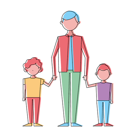 Young man holding hands of two kids vector illustration