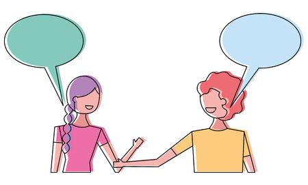 Couple of young people speech bubbles talking vector illustration