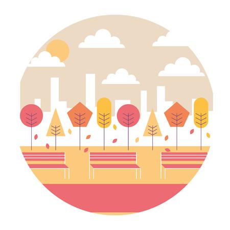 風景サンセットパークと都市の背景ラウンドデザインベクトルイラスト