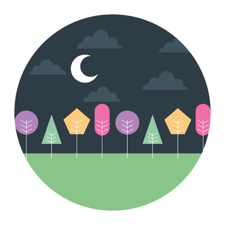 Landscape of night moon with clouds and trees round design vector illustration