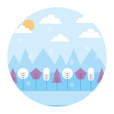 landscape winter season snow mountains forest sun clouds round design vector illustration  Illustration