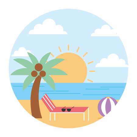 landscape summer beach sun lounger sea palm ball round design vector illustration  Illustration