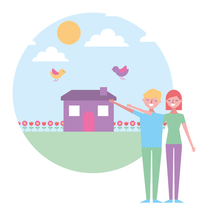 couple together with landscape house spring flower birds vector illustration