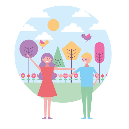 happy couple standing in the park spring flowers birds trees vector illustration Stock Illustratie