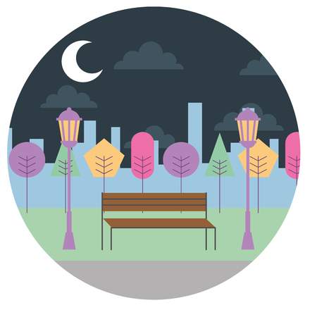 landscape night view park bench trees lamps urban round design vector illustration Imagens - 97451491