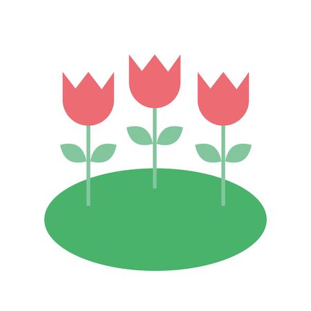 decorative flowers tulips in field nature vector illustration