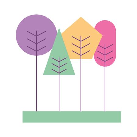 かわいい幾何学の木春のコンセプトベクトルイラスト  イラスト・ベクター素材