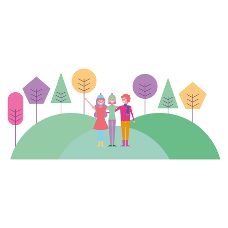 people friends standing in hills natural trees landscape vector illustration