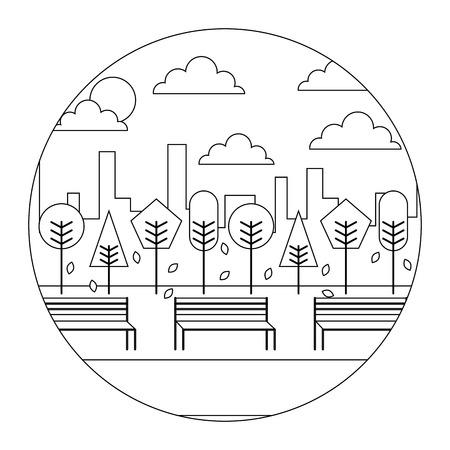 風景サンセットパークと都市の背景ラウンドデザインベクトルイラスト細い線  イラスト・ベクター素材