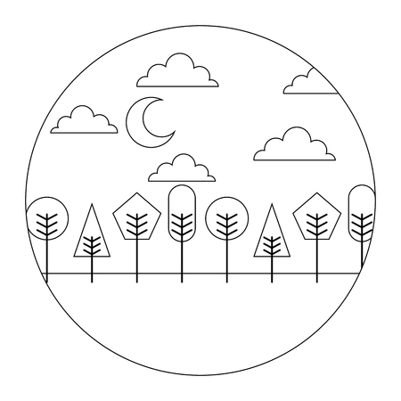 landscape night moon clouds trees round design vector illustration  thin line Çizim
