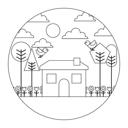 landscape house tree bird flowers spring season round design vector illustration  thin line Stock Illustratie