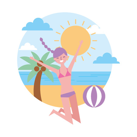 young woman jumping happy in the beach vector illustration