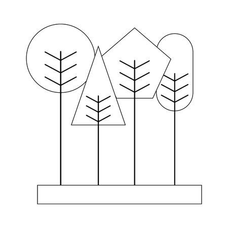 かわいい幾何学木春コンセプトベクトルイラストの細い線